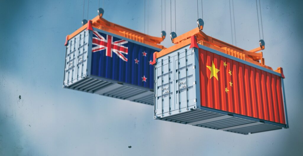 Two freight container with New Zealand and China flag